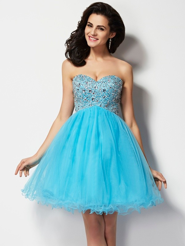 A-Line/Princess Sweetheart Sleeveless Short Beading Tulle Dresses