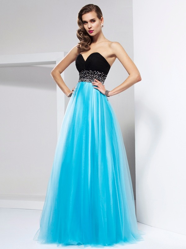 A-Line/Princess Sweetheart Sleeveless Sash/Ribbon/Belt Long Net Dresses