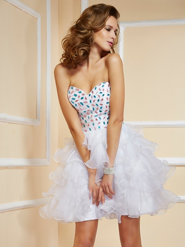 A-Line/Princess Sweetheart Sleeveless Rhinestone Short Organza Dresses