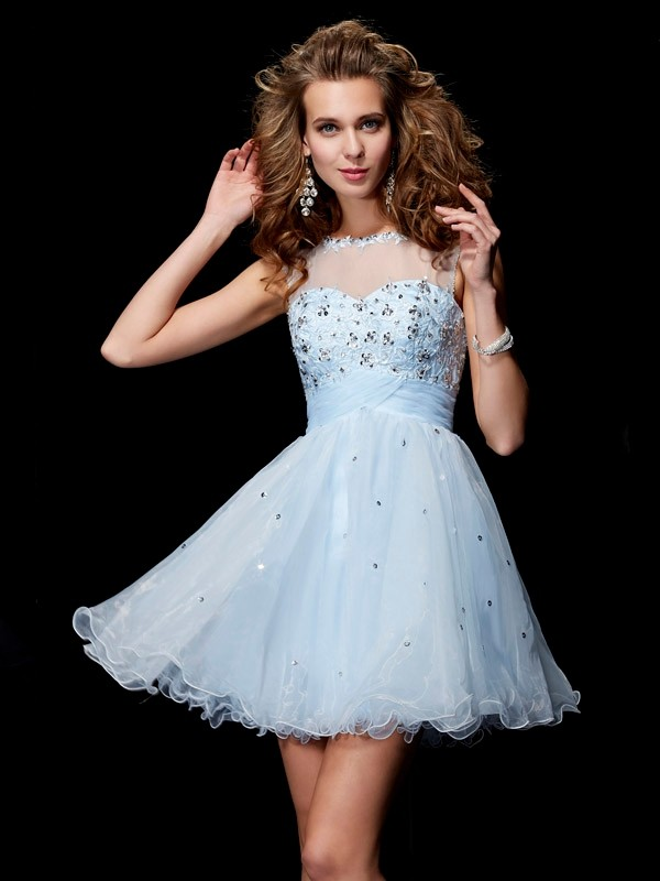 A-Line/Princess Scoop Sleeveless Beading Short Elastic Woven Satin Dresses