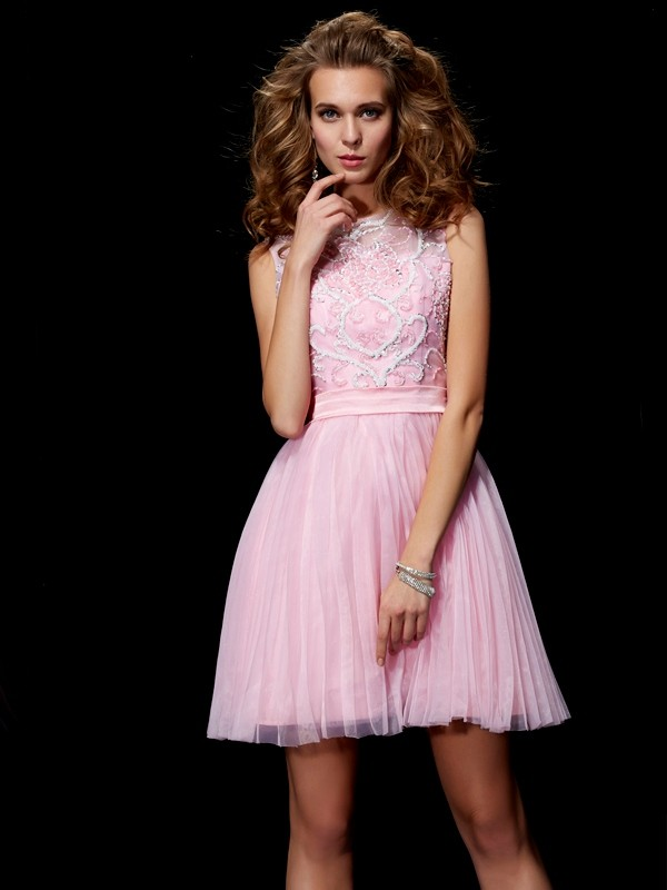 A-Line/Princess Scoop Beading Short Elastic Woven Satin Dresses