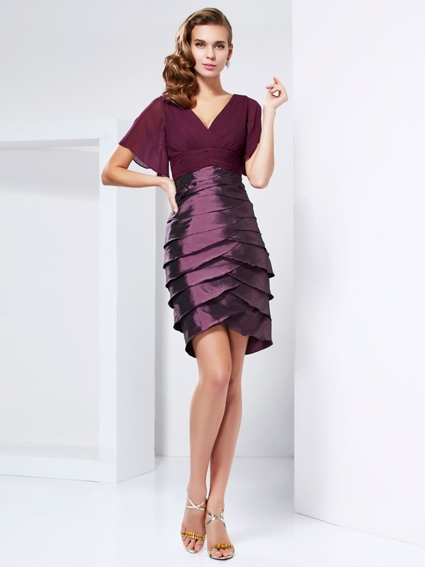 A-Line/Princess V-neck Short Sleeves Ruffles Short Taffeta Mother of the Bride Dresses