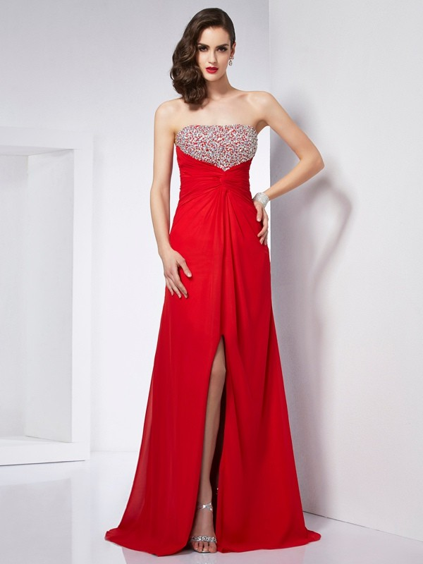 A-Line/Princess Sleeveless Strapless Beading Long Chiffon Dresses