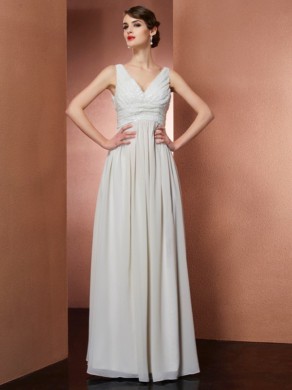 A-Line/Princess V-neck Sleeveless Long Chiffon Dresses