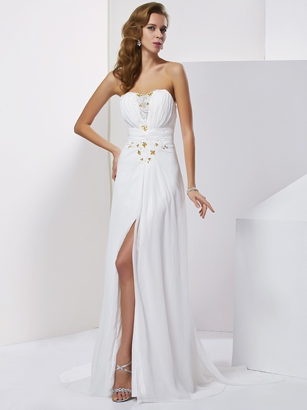 A-Line/Princess Sweetheart Applique Sleeveless Beading Long Chiffon Dresses