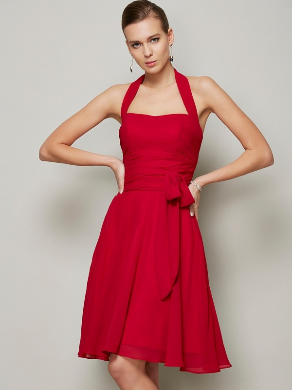 A-Line/Princess Halter Sleeveless Pleats Bowknot Short Chiffon Bridesmaid Dresses