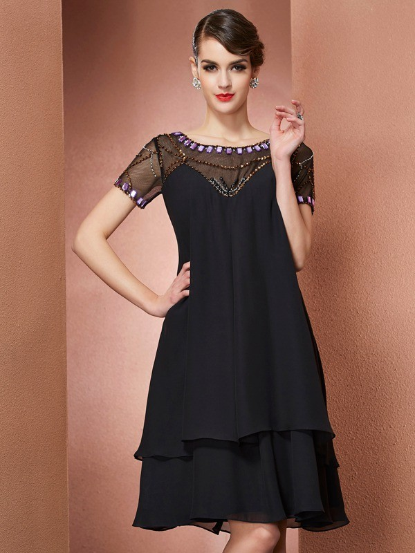 A-Line/Princess Scoop Short Sleeves Beading Short Chiffon Mother of the Bride Dresses