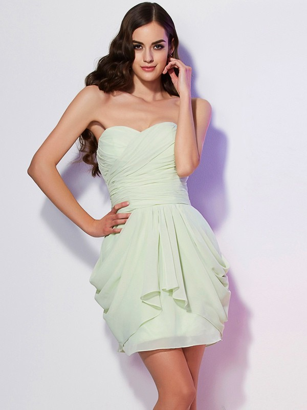 A-Line/Princess Sweetheart Sleeveless Pleats Short Chiffon Bridesmaid Dresses