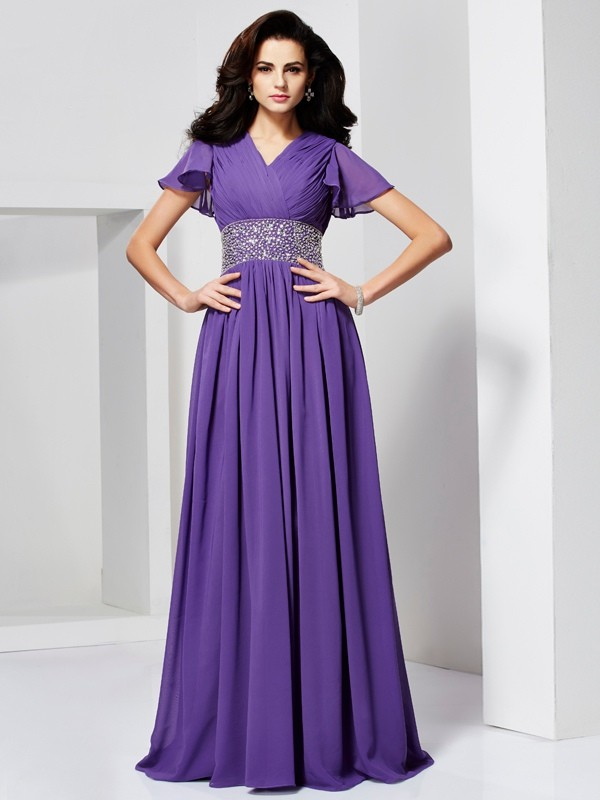 A-Line/Princess V-neck Short Sleeves Beading Long Chiffon Dresses