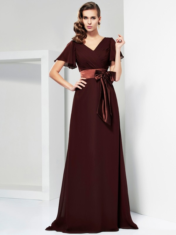 A-Line/Princess V-neck Short Sleeves Sash/Ribbon/Belt Long Chiffon Mother of the Bride Dresses