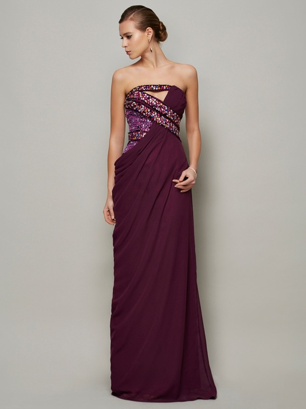 A-Line/Princess Strapless Sleeveless Beading Long Chiffon Dresses