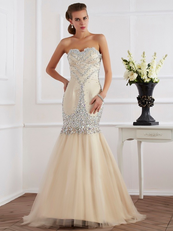 Sheath/Column Sweetheart Sleeveless Beading Long Satin Dresses