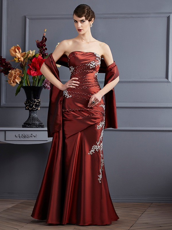 Sheath/Column Strapless Sleeveless Beading Long Taffeta Dresses