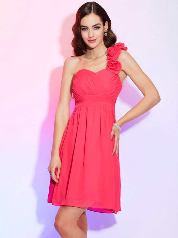 A-Line/Princess One-Shoulder Sleeveless Pleats Short Chiffon Dresses