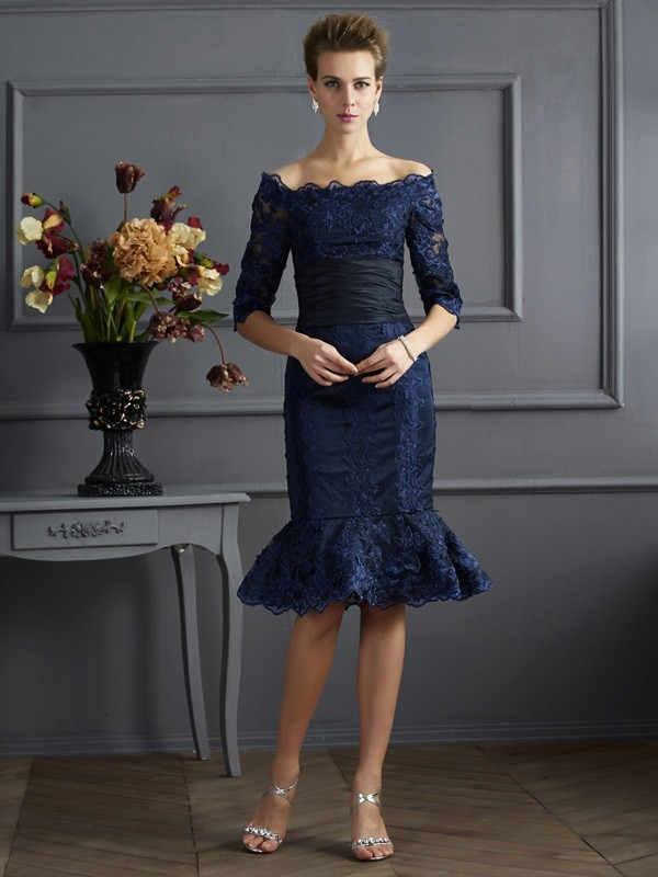 Sheath/Column Off the Shoulder 3/4 Sleeves Short Taffeta Mother of the Bride Dresses