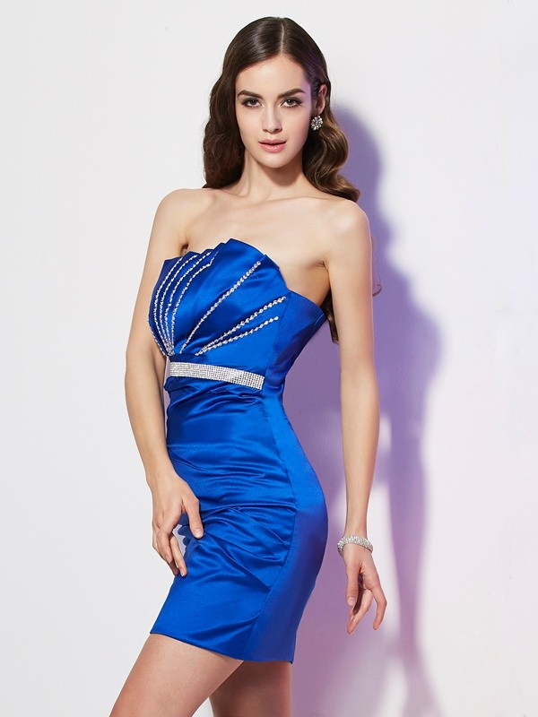 Sheath/Column Strapless Sleeveless Beading Short Satin Dresses