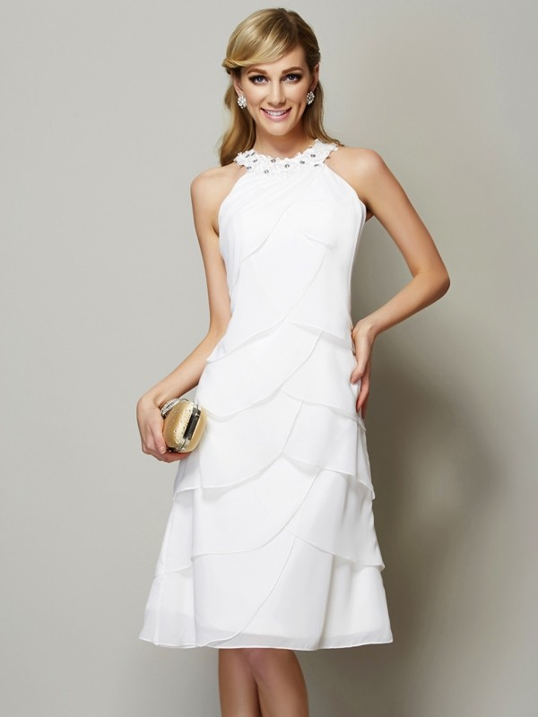 Sheath/Column Bateau Sleeveless Beading Short Chiffon Bridesmaid Dresses