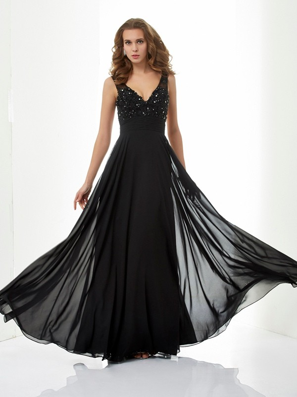 A-Line/Princess V-neck Sleeveless Beading Applique Long Chiffon Dresses