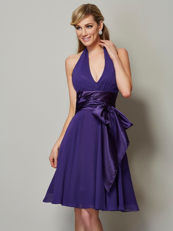 A-Line/Princess Halter Sleeveless Short Chiffon Bridesmaid Dresses