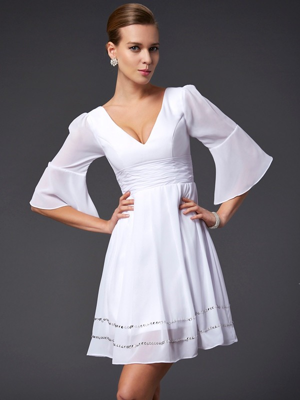 A-Line/Princess V-neck 1/2 Sleeves Beading Short Chiffon Bridesmaid Dresses