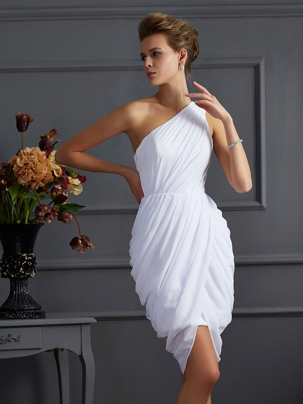 Sheath/Column One-Shoulder Sleeveless Pleats Short Chiffon Dresses