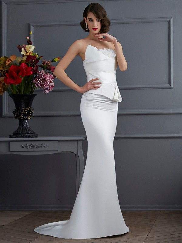Trumpet/Mermaid Strapless Sleeveless Hand-Made Flower Long Satin Dresses