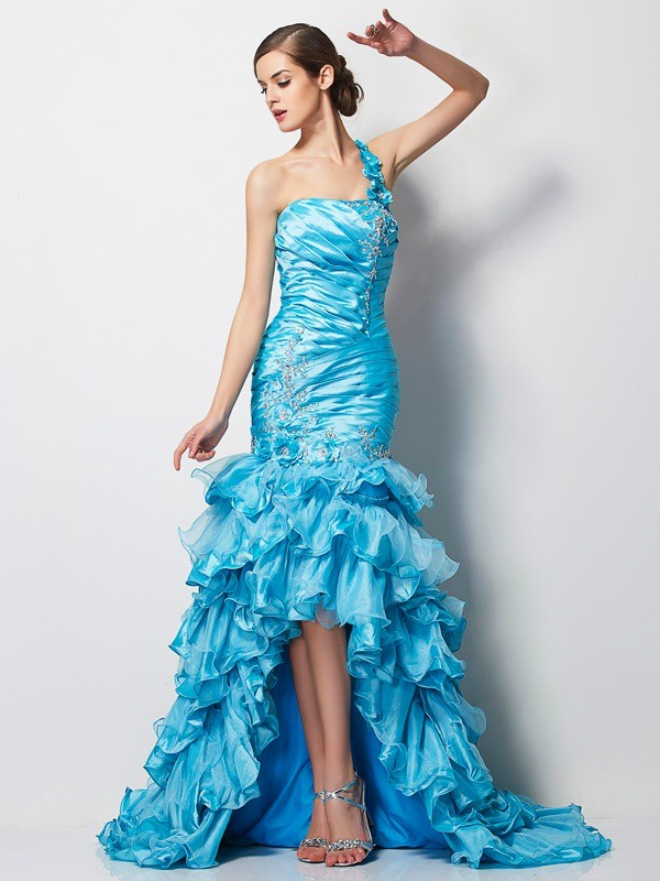 Trumpet/Mermaid One-Shoulder Sleeveless Beading High Low Taffeta Dresses