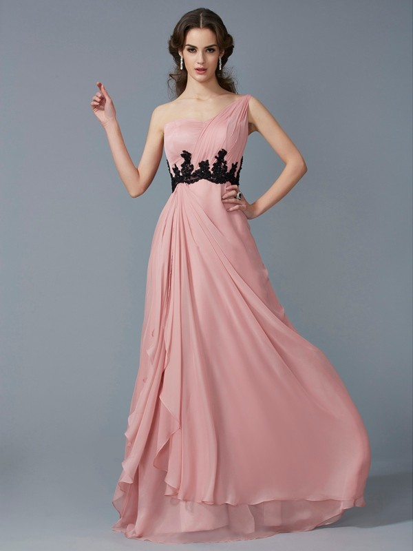 A-Line/Princess One-Shoulder Sleeveless Beading Long Applique Chiffon Dresses