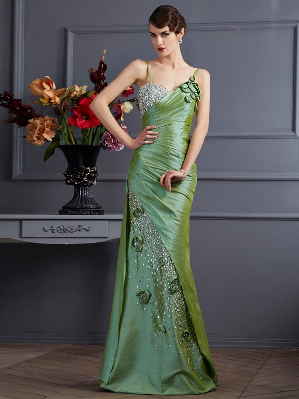 Trumpet/Mermaid Spaghetti Straps Sleeveless Beading Long Taffeta Dresses