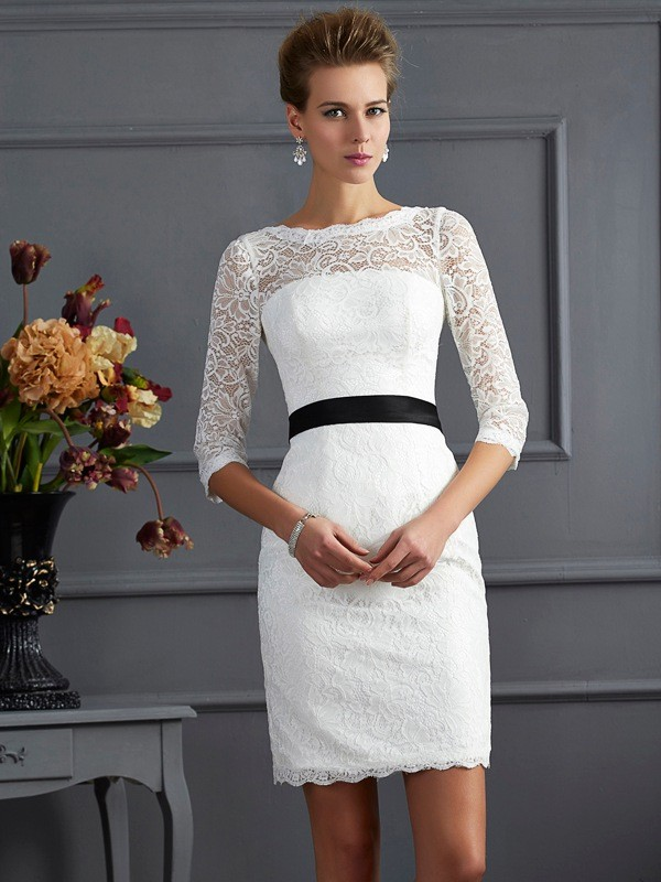 Sheath/Column Scoop 3/4 Sleeves Sash/Ribbon/Belt Short Lace Mother of the Bride Dresses