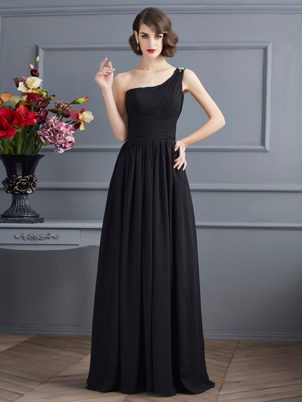 A-Line/Princess One-Shoulder Sleeveless Chiffon Long Mother of the Bride Dresses