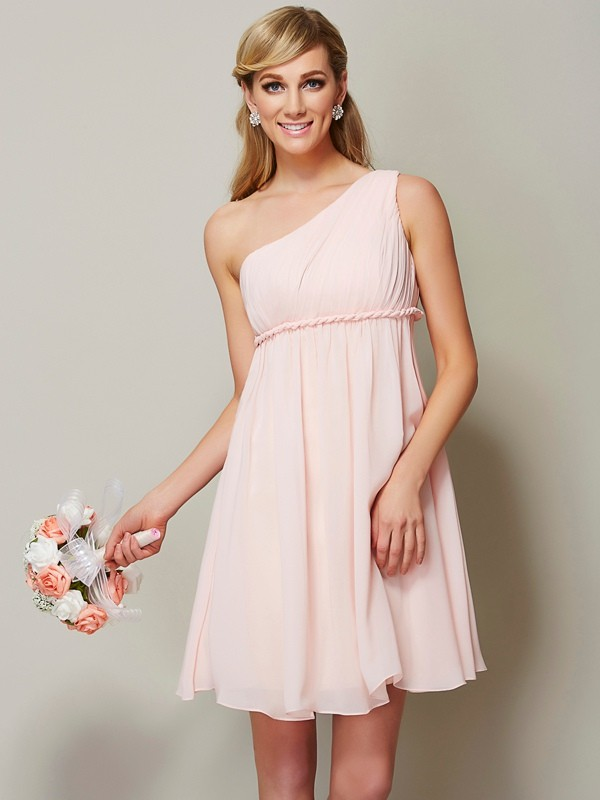 A-Line/Princess One-Shoulder Sleeveless Sash/Ribbon/Belt Short Chiffon Bridesmaid Dresses