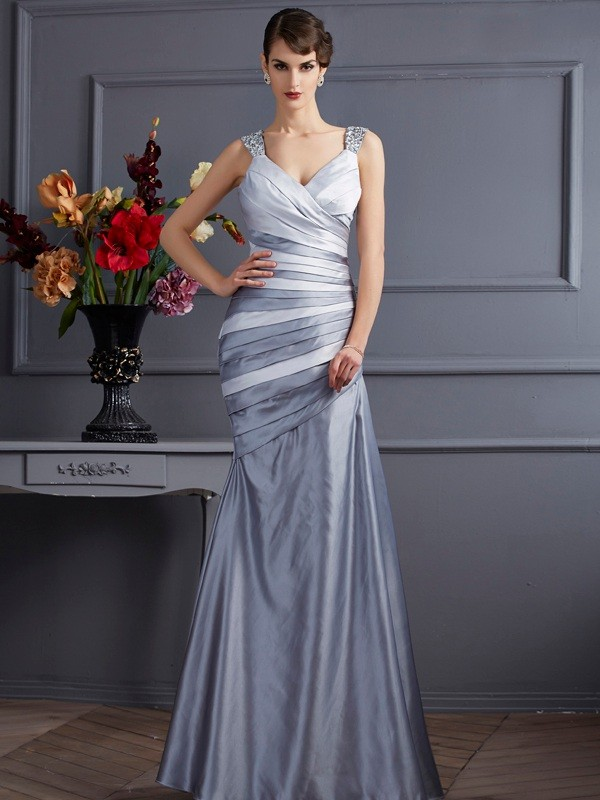 Trumpet/Mermaid Straps Sleeveless Pleats Long Satin Dresses