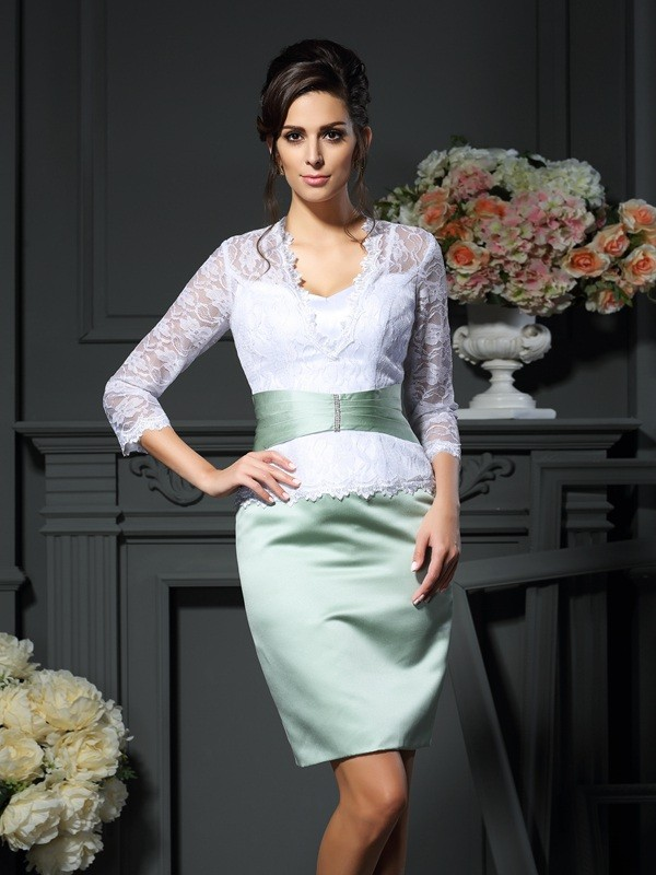 Sheath/Column V-neck Lace 1/2 Sleeves Short Satin Mother of the Bride Dresses