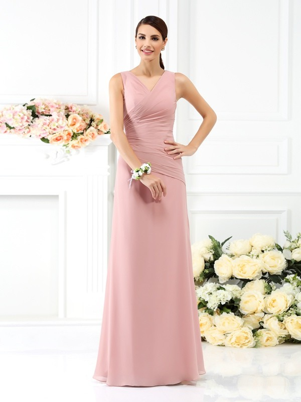 Sheath/Column V-neck Pleats Sleeveless Long Chiffon Bridesmaid Dresses