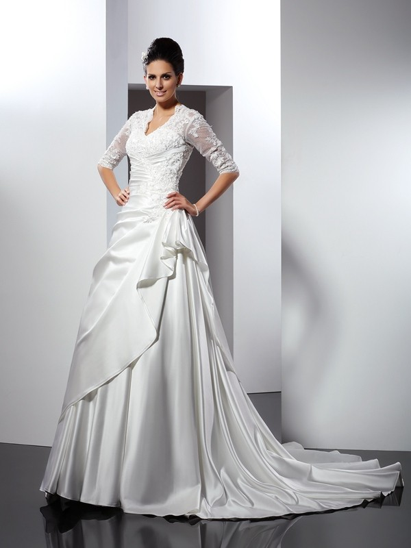 A-Line/Princess V-neck Applique 1/2 Sleeves Long Satin Wedding Dresses