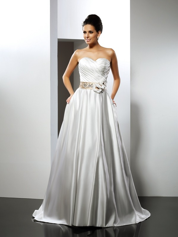 A-Line/Princess Sweetheart Hand-Made Flower Sleeveless Long Satin Wedding Dresses