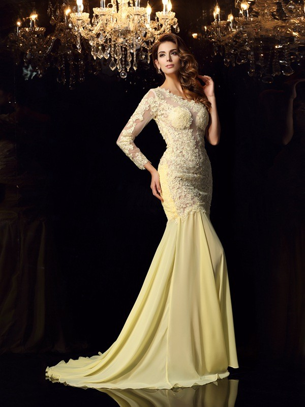 Trumpet/Mermaid One-Shoulder Applique Long Sleeves Long Chiffon Dresses