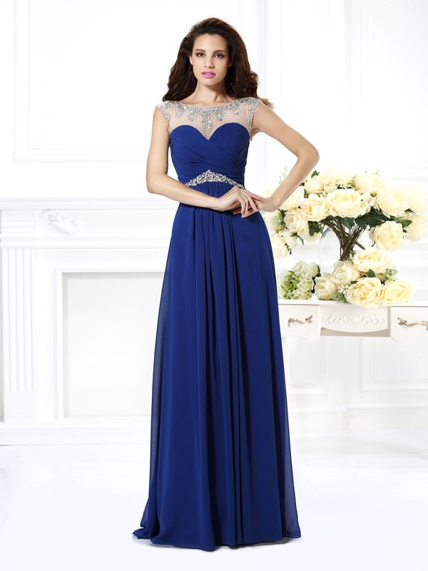 A-Line/Princess Bateau Beading Sleeveless Long Chiffon Dresses