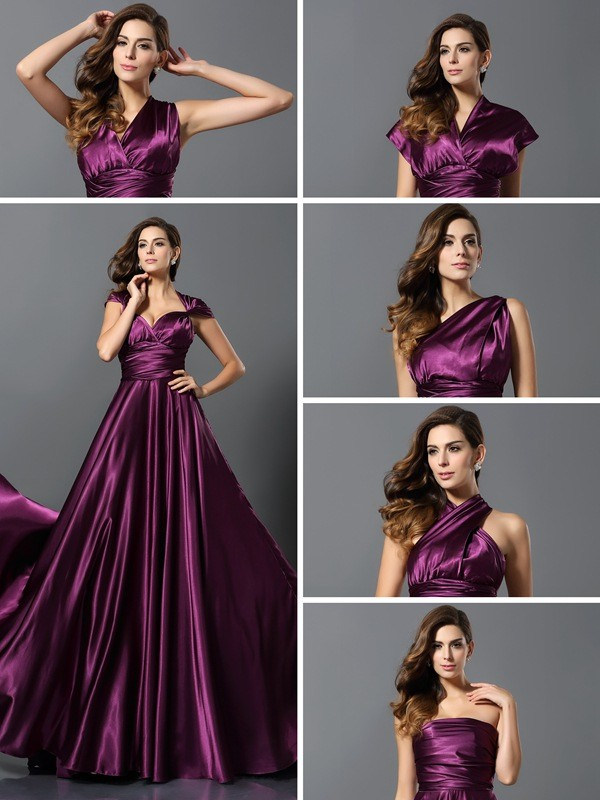 A-Line/Princess Pleats Sleeveless Long Silk like Satin Bridesmaid Dresses