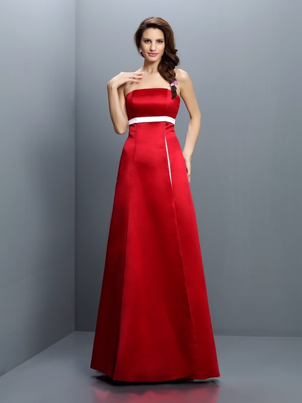 A-Line/Princess Strapless Sash/Ribbon/Belt Sleeveless Long Satin Bridesmaid Dresses