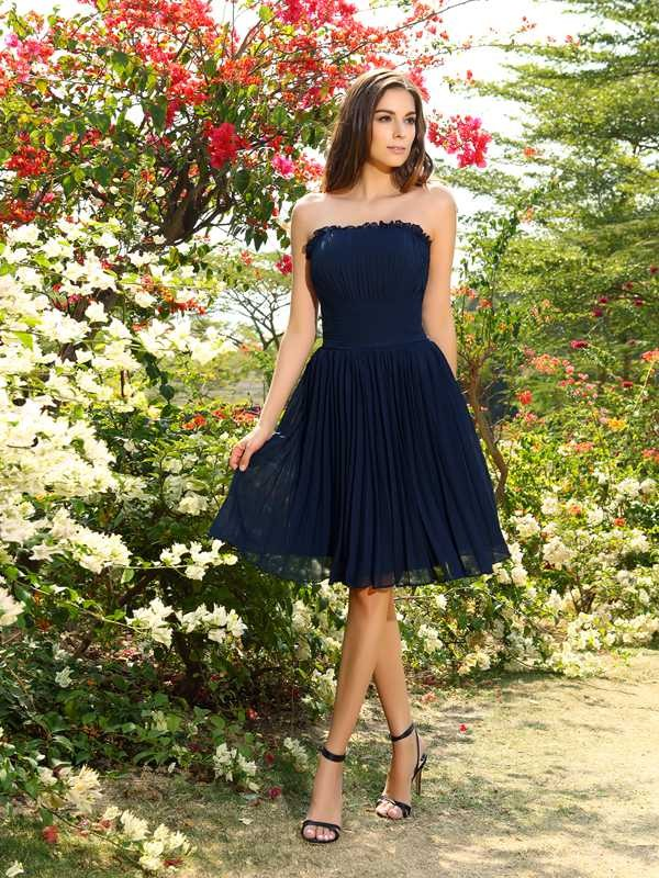 A-Line/Princess Strapless Pleats Sleeveless Short Chiffon Bridesmaid Dresses