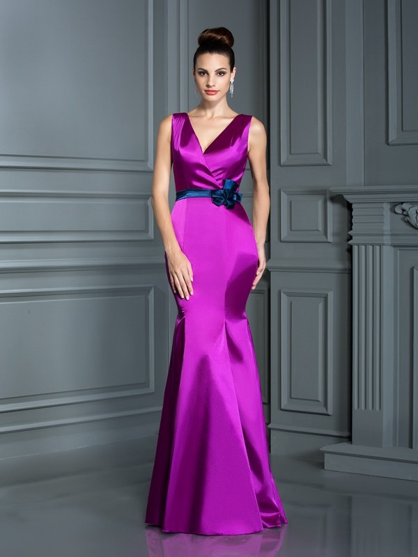 Trumpet/Mermaid V-neck Hand-Made Flower Sleeveless Long Elastic Woven Satin Bridesmaid Dresses