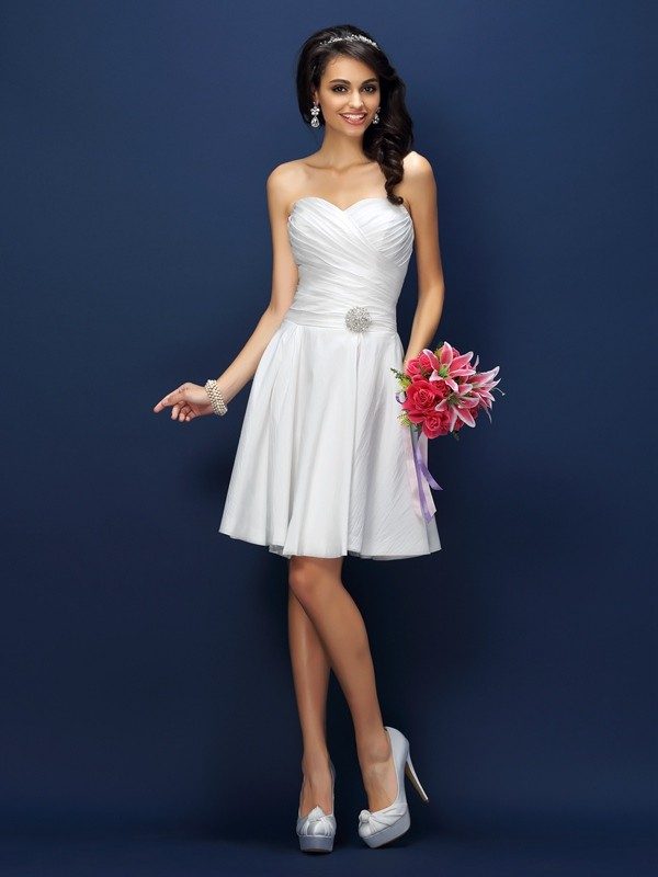 A-Line/Princess Sweetheart Pleats Sleeveless Short Taffeta Bridesmaid Dresses