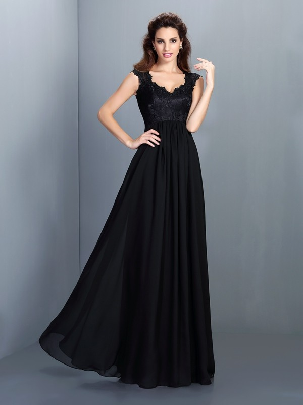 A-Line/Princess Scoop Lace Sleeveless Long Chiffon Bridesmaid Dresses
