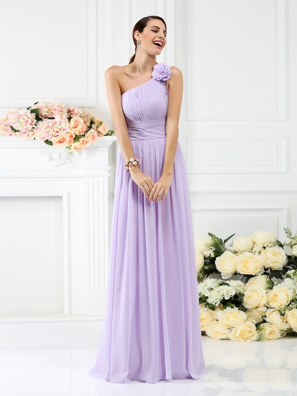 A-Line/Princess One-Shoulder Pleats Hand-Made Flower Sleeveless Long Chiffon Bridesmaid Dresses