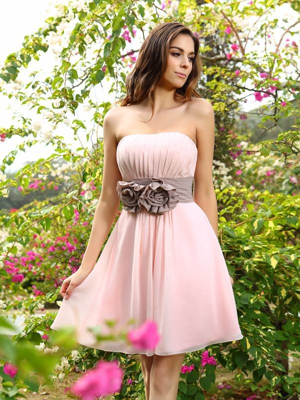 A-Line/Princess Sweetheart Pleats Sash/Ribbon/Belt Sleeveless Short Chiffon Bridesmaid Dresses