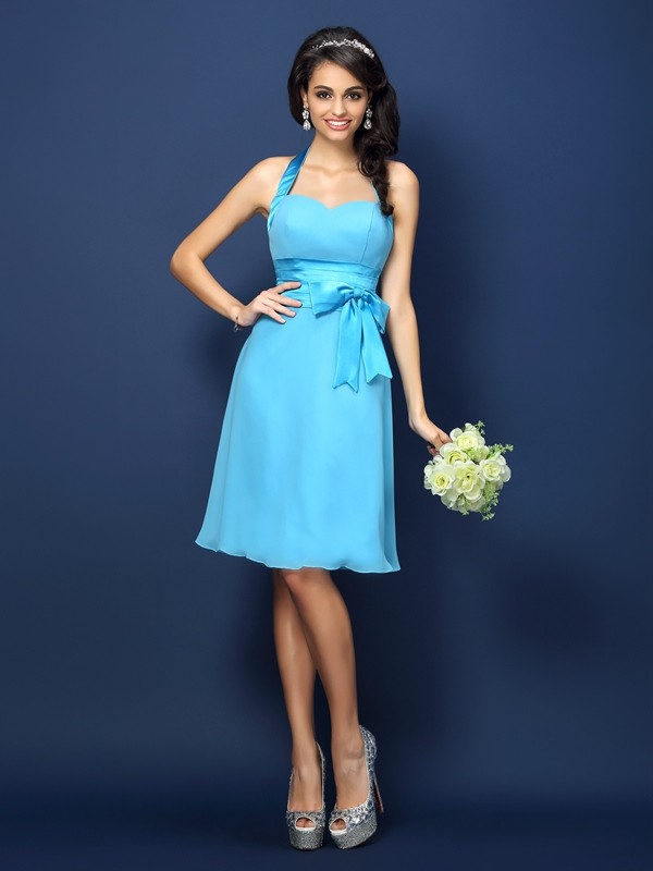 Sheath/Column Halter Bowknot Sleeveless Short Chiffon Bridesmaid Dresses