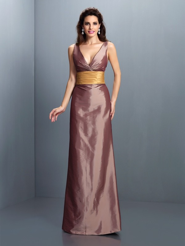 Sheath/Column V-neck Pleats Sleeveless Long Taffeta Dresses