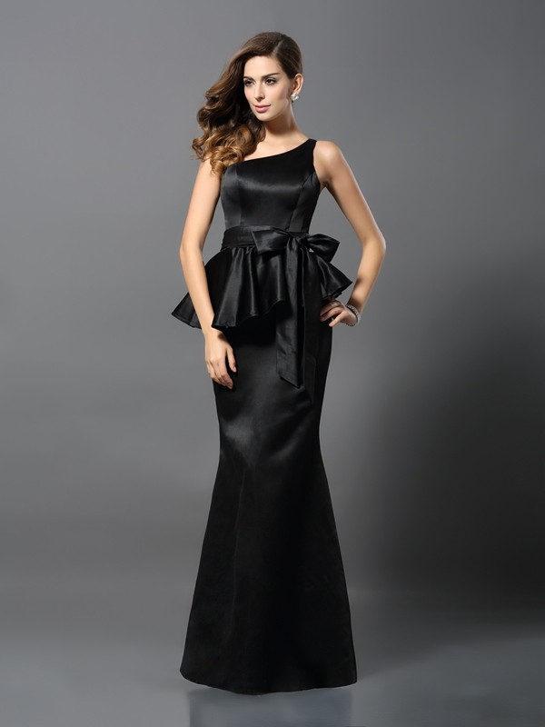 Trumpet/Mermaid One-Shoulder Bowknot Sleeveless Long Satin Dresses